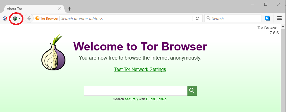 Click the Tor button using the onion icon