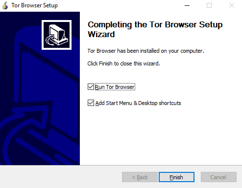 Complete the onion Tor browser setup wizard