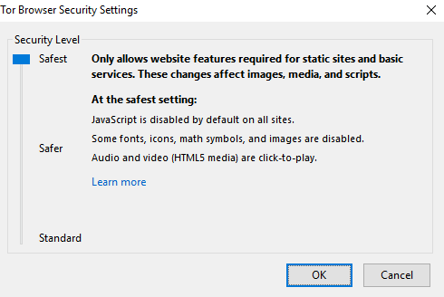 Configure Tor browser security settings