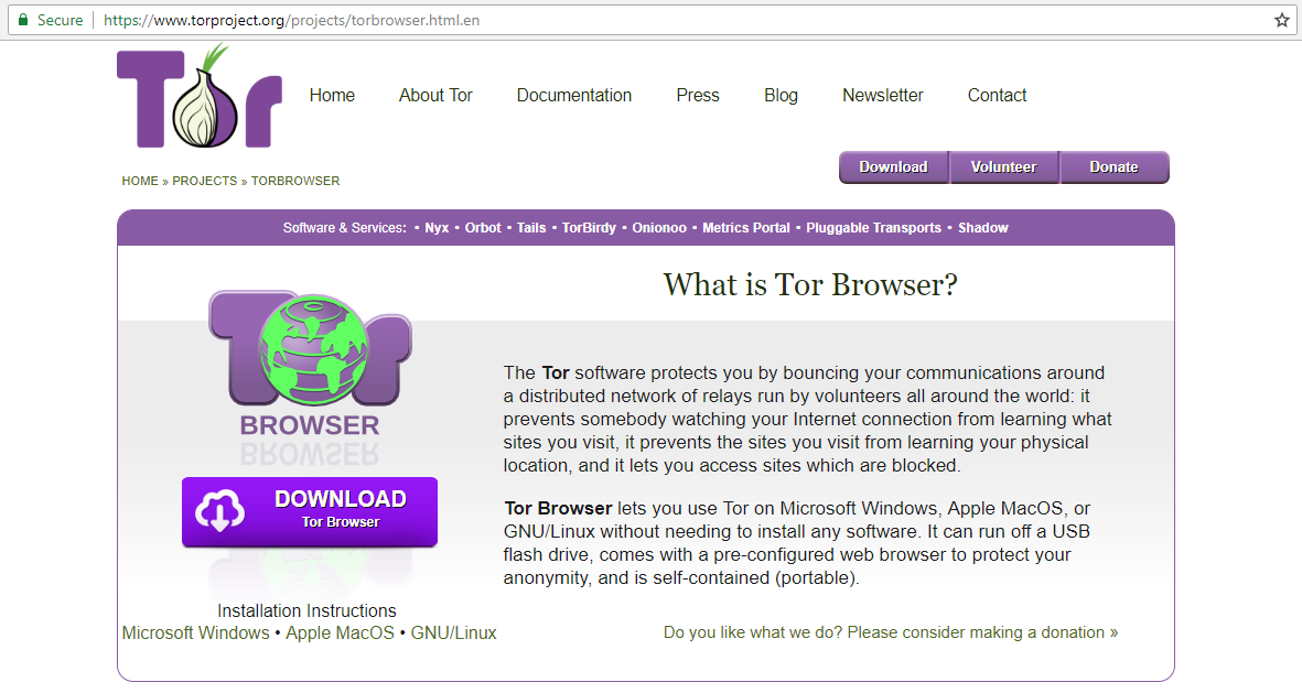 Go to the Tor website to download the software