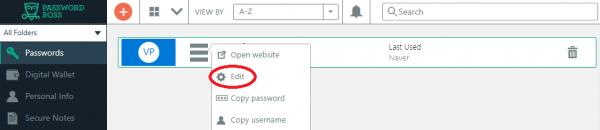 Edit password for website