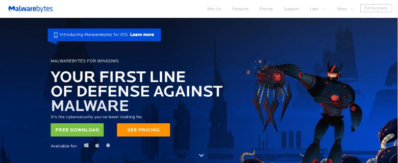 Malwarebytes Anti Malware website