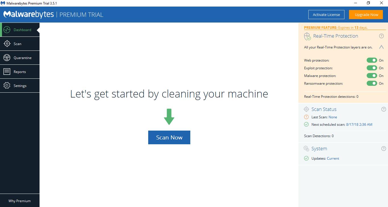 Malwarebytes Premium Trial Dashboard