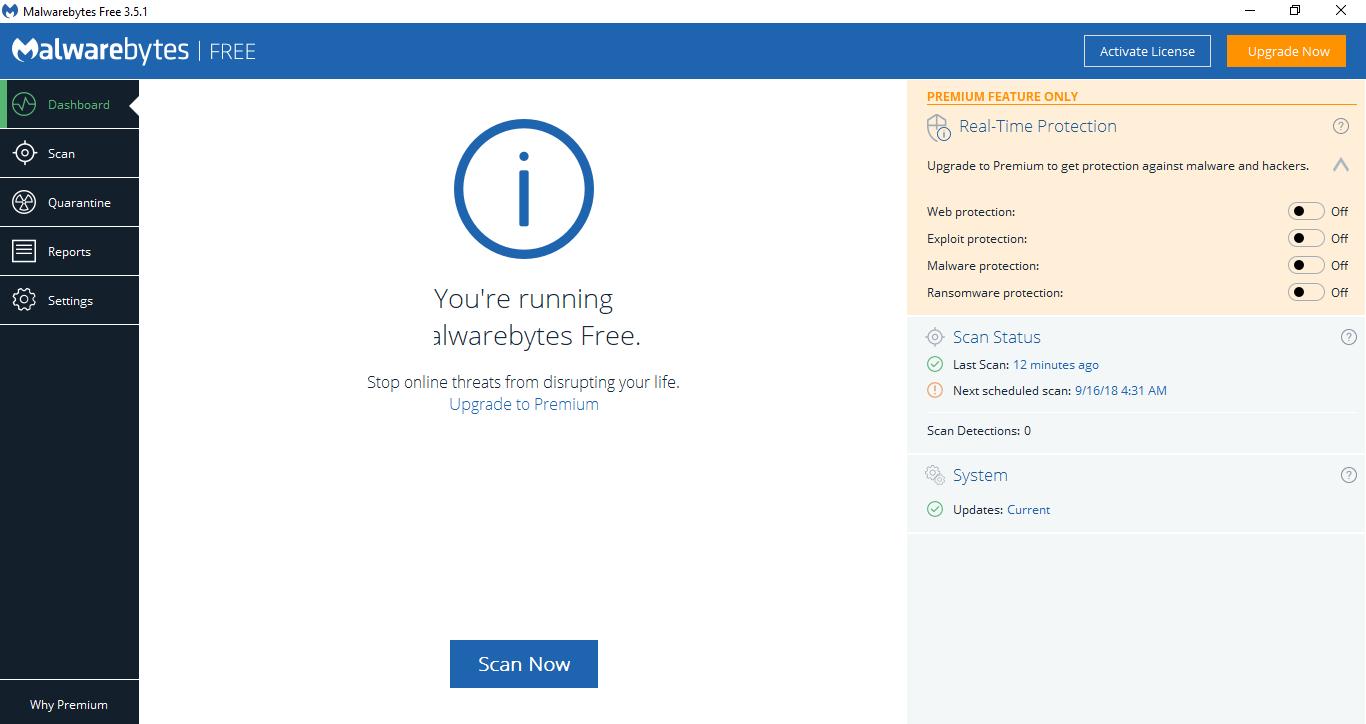 Malwarebytes Anti Malware Dashboard