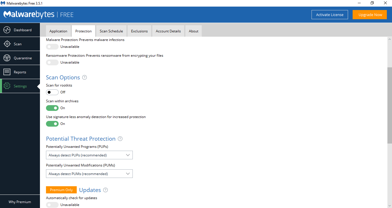 Malwarebytes Anti Malware Settings