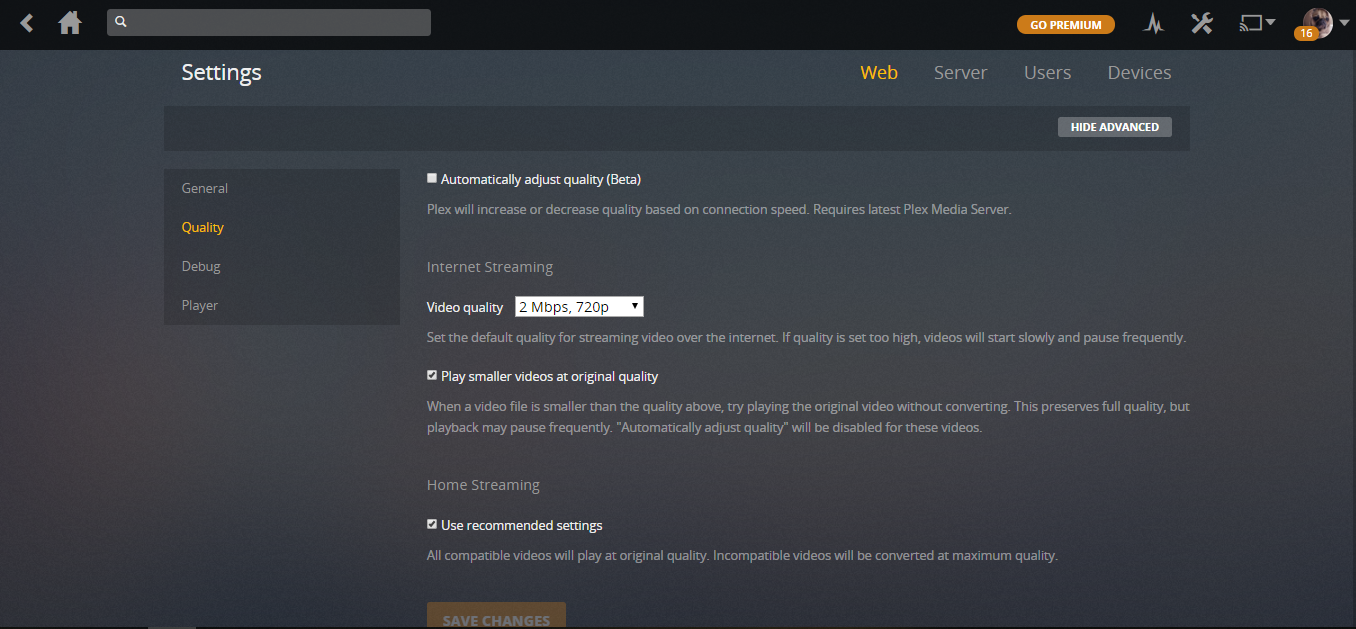 Plex Configuring Video Streaming Quality