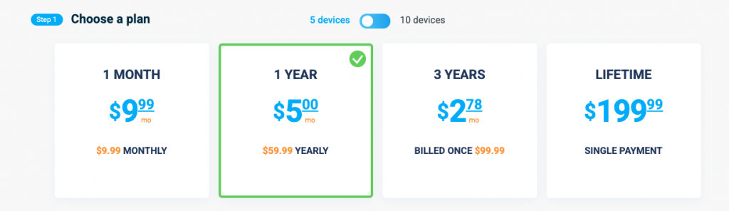VPN unlimited tarifs