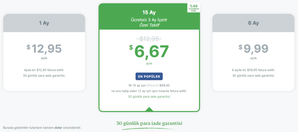 ExpressVPN planlar ve fiyatlar
