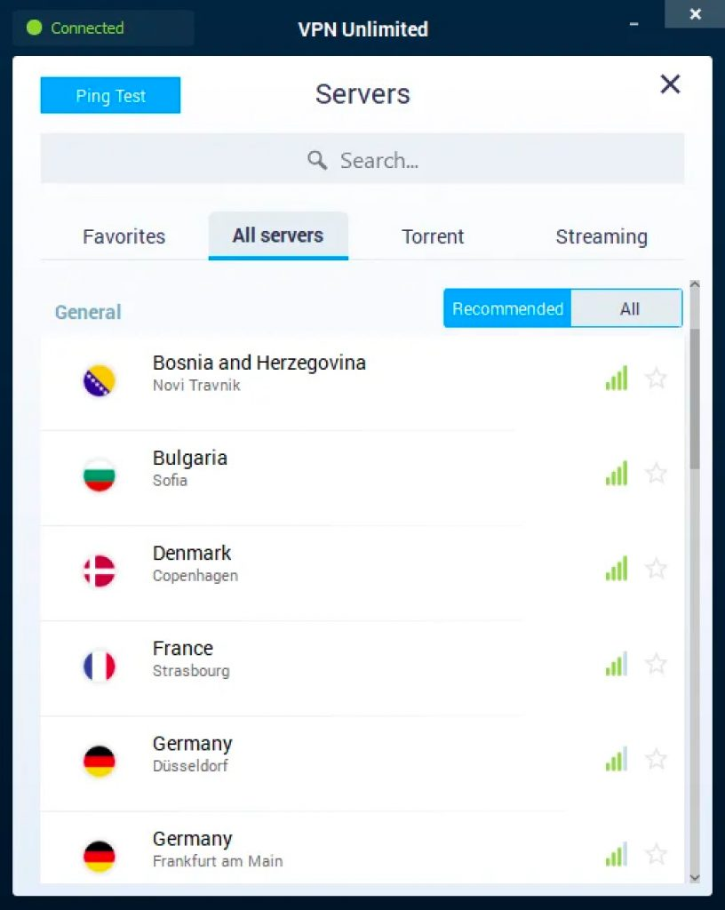 vpn unlimited server list